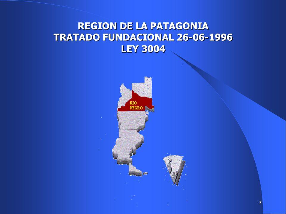 REGION DE LA PATAGONIA TRATADO FUNDACIONAL 26-06-1996 LEY 3004