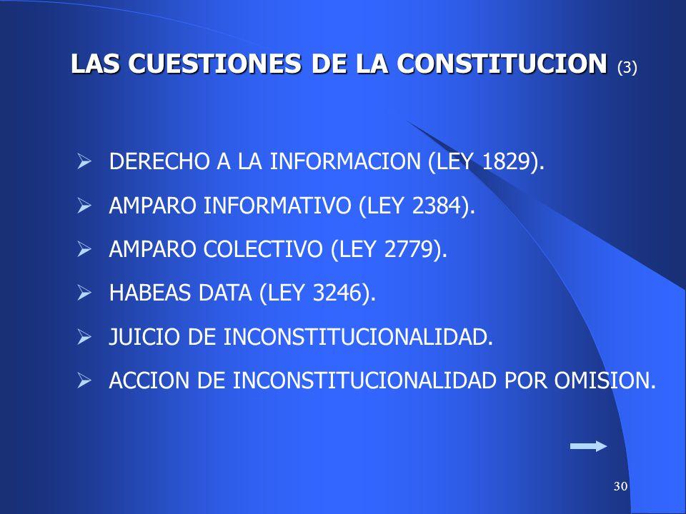 LAS CUESTIONES DE LA CONSTITUCION (3)