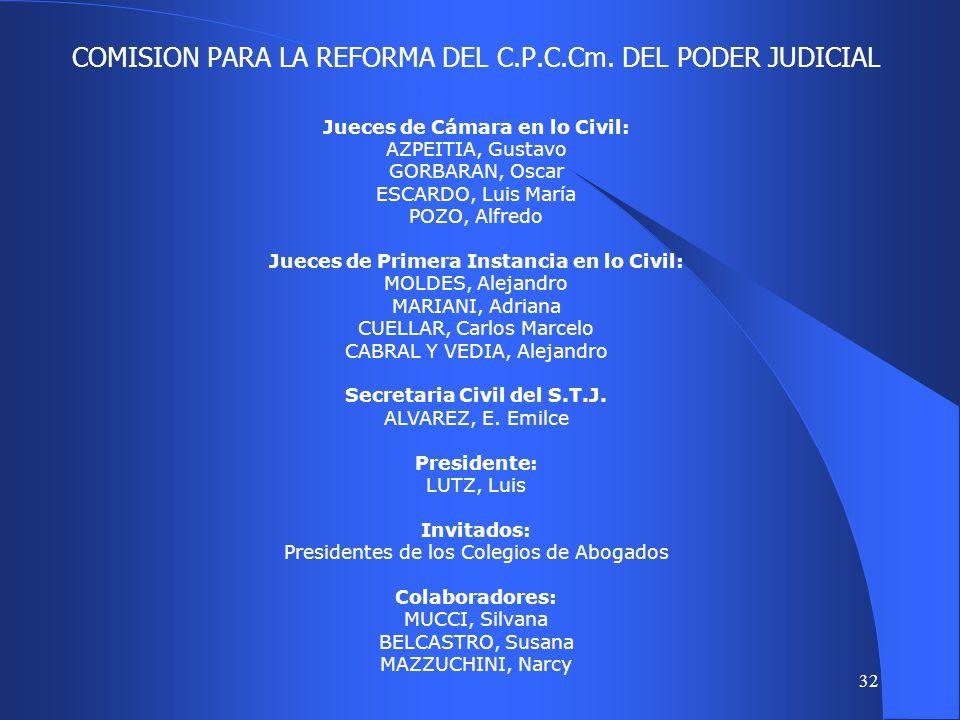 COMISION PARA LA REFORMA DEL C.P.C.Cm. DEL PODER JUDICIAL
