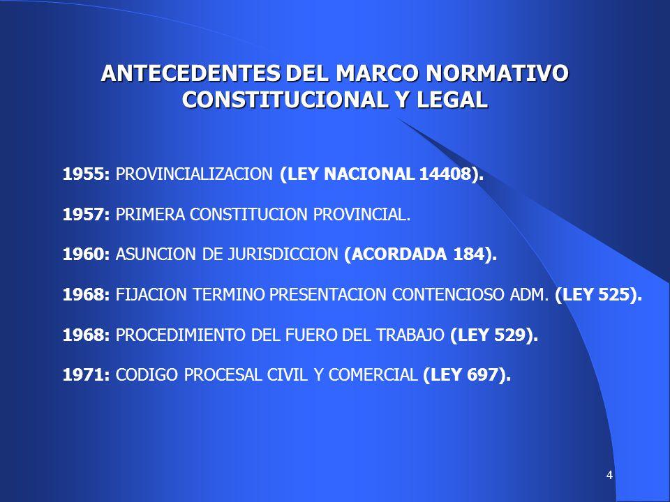 ANTECEDENTES DEL MARCO NORMATIVO CONSTITUCIONAL Y LEGAL