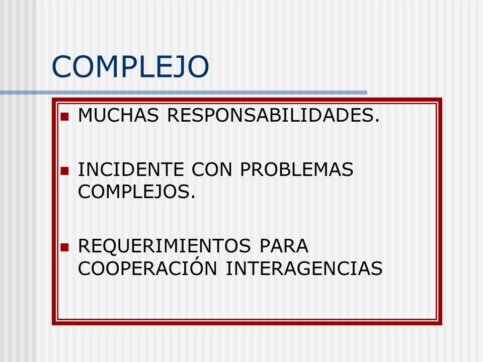 COMPLEJO MUCHAS RESPONSABILIDADES. INCIDENTE CON PROBLEMAS COMPLEJOS.