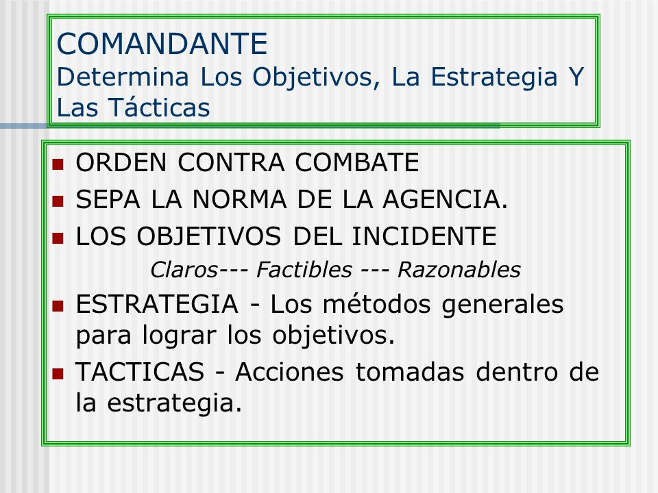 COMANDANTE Determina Los Objetivos, La Estrategia Y Las Tácticas