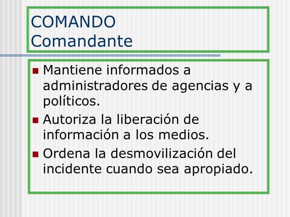 COMANDO Comandante Mantiene informados a administradores de agencias y a políticos. Autoriza la liberación de información a los medios.