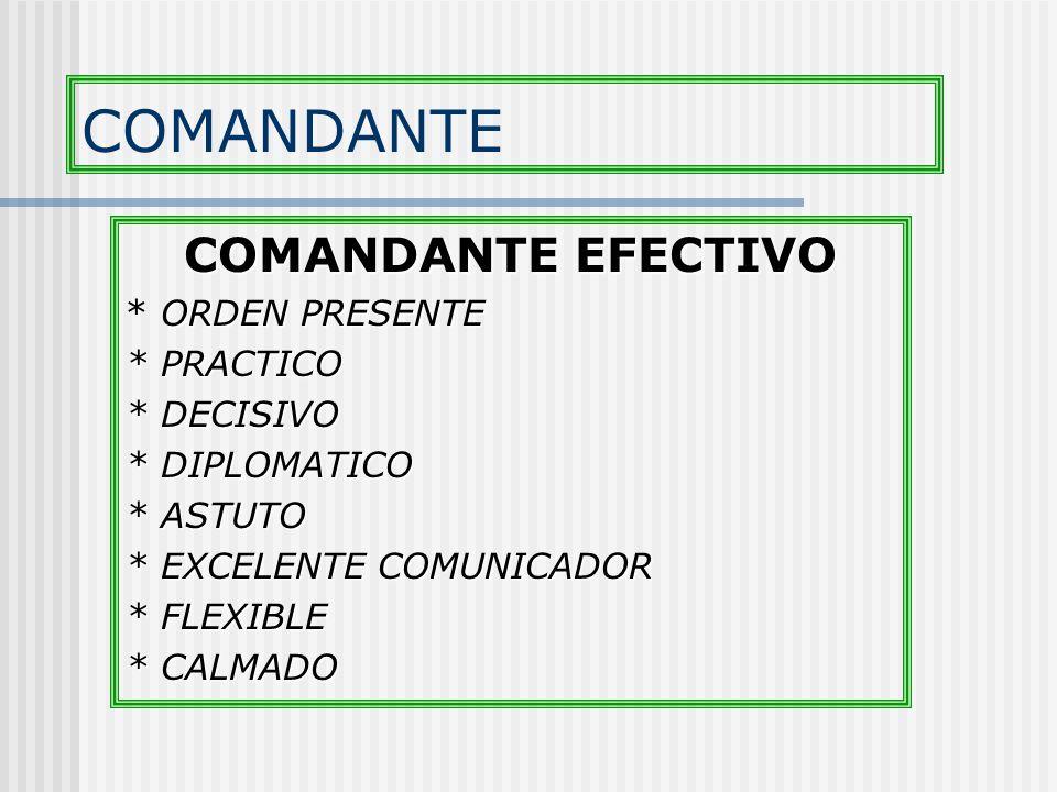COMANDANTE COMANDANTE EFECTIVO * ORDEN PRESENTE * PRACTICO * DECISIVO