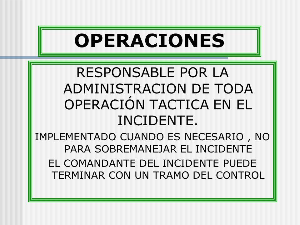 OPERACIONES RESPONSABLE POR LA ADMINISTRACION DE TODA OPERACIÓN TACTICA EN EL INCIDENTE.