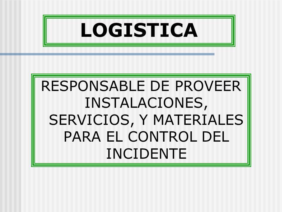 LOGISTICA RESPONSABLE DE PROVEER INSTALACIONES, SERVICIOS, Y MATERIALES PARA EL CONTROL DEL INCIDENTE.
