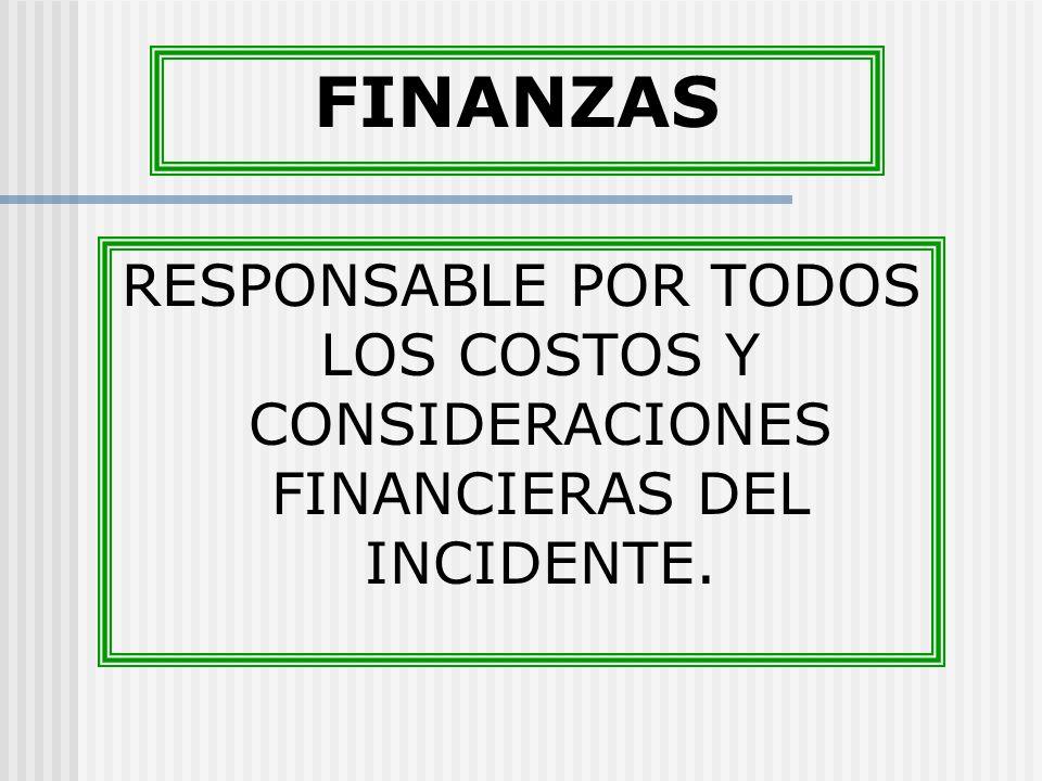 FINANZAS RESPONSABLE POR TODOS LOS COSTOS Y CONSIDERACIONES FINANCIERAS DEL INCIDENTE.