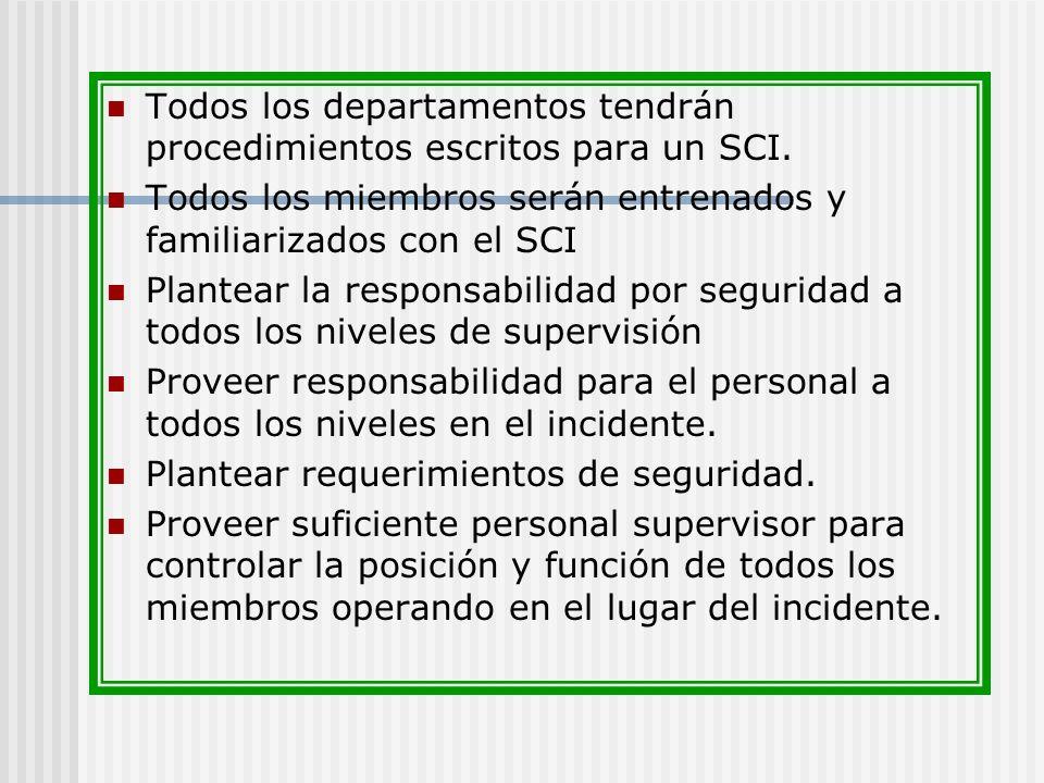 Todos los departamentos tendrán procedimientos escritos para un SCI.