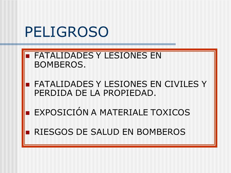 PELIGROSO FATALIDADES Y LESIONES EN BOMBEROS.