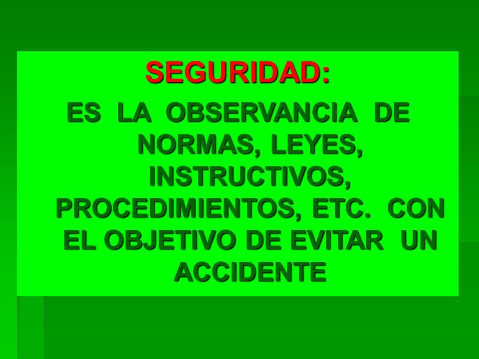 SEGURIDAD: ES LA OBSERVANCIA DE NORMAS, LEYES, INSTRUCTIVOS, PROCEDIMIENTOS, ETC.