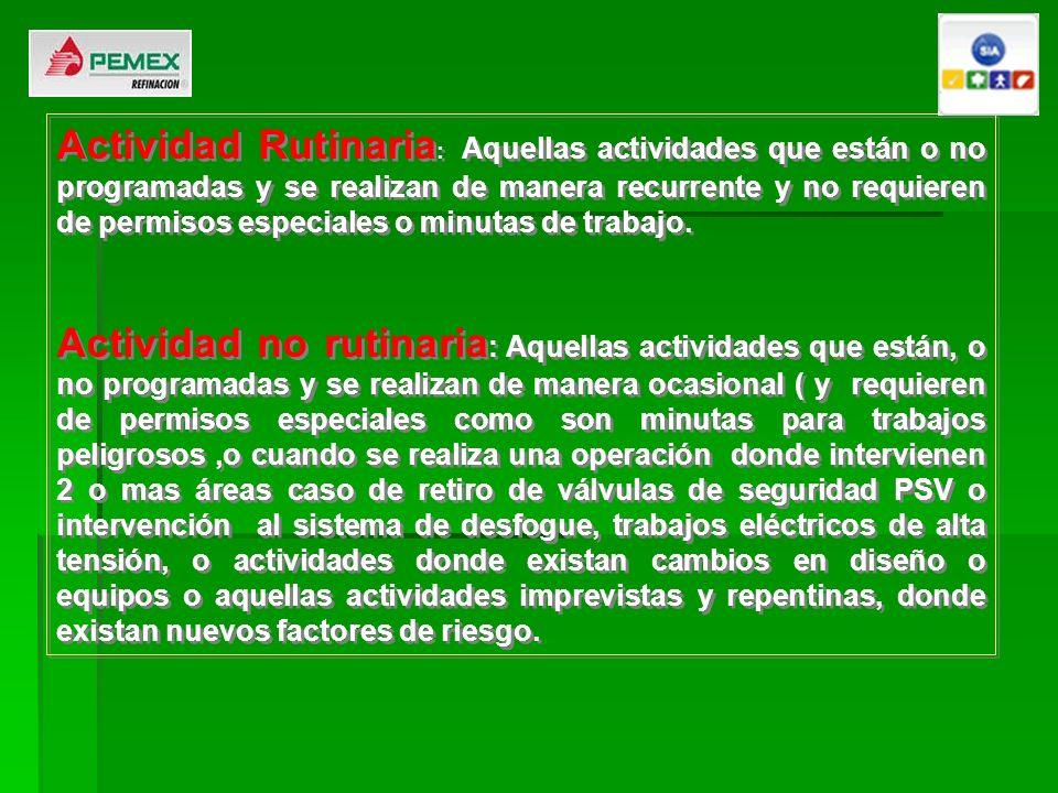 Actividad Rutinaria: Aquellas actividades que están o no programadas y se realizan de manera recurrente y no requieren de permisos especiales o minutas de trabajo.