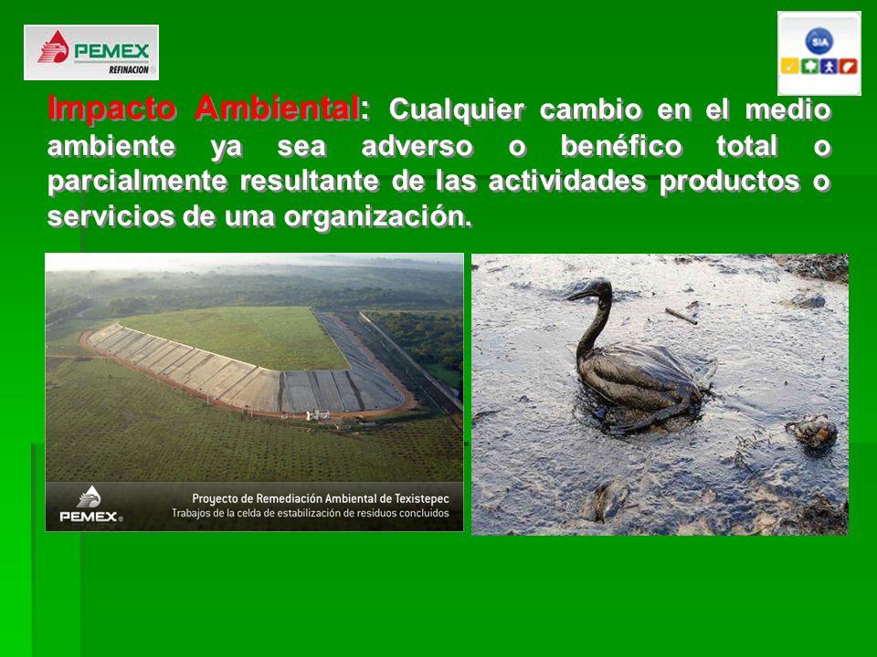 Impacto Ambiental: Cualquier cambio en el medio ambiente ya sea adverso o benéfico total o parcialmente resultante de las actividades productos o servicios de una organización.