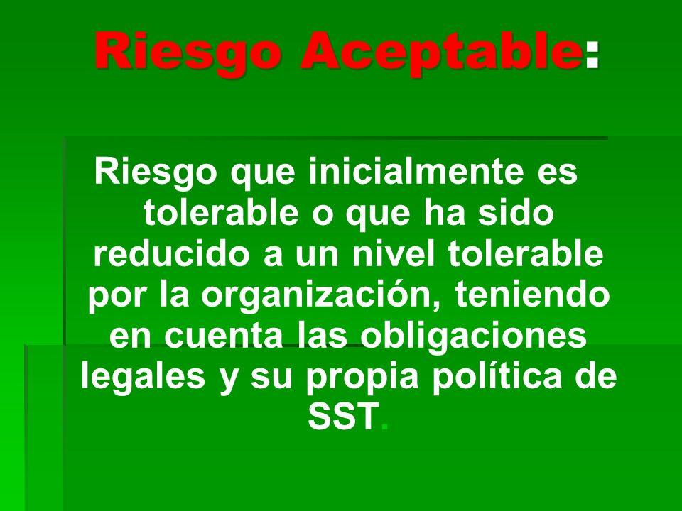 Riesgo Aceptable: