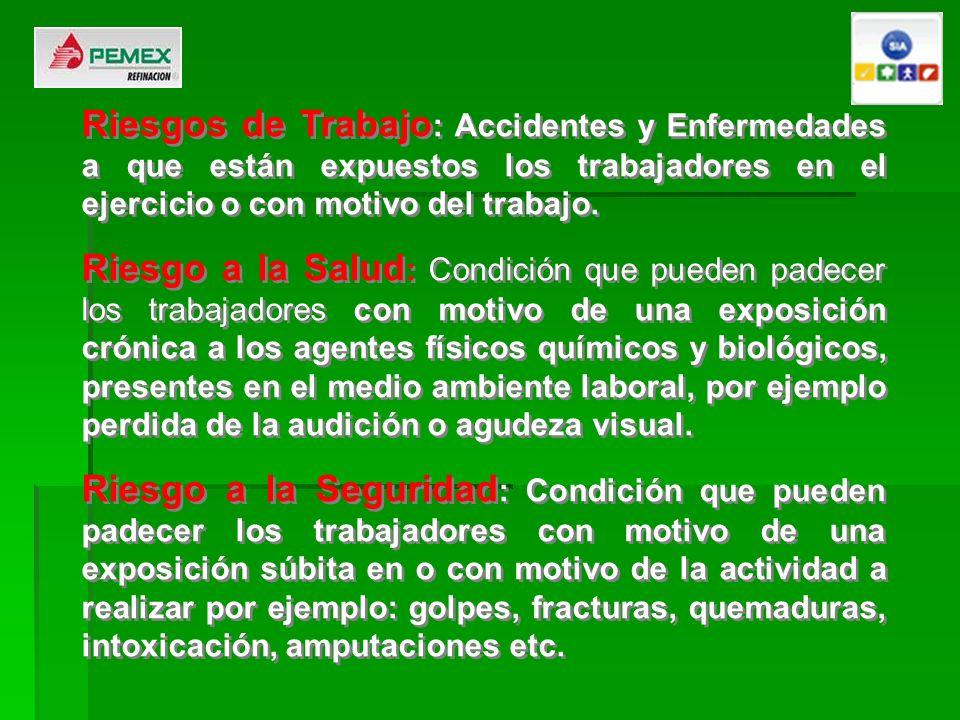 Riesgos de Trabajo: Accidentes y Enfermedades a que están expuestos los trabajadores en el ejercicio o con motivo del trabajo.