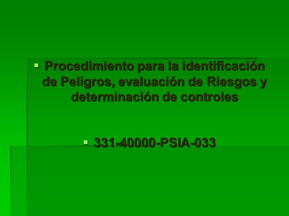Procedimiento para la identificación de Peligros, evaluación de Riesgos y determinación de controles