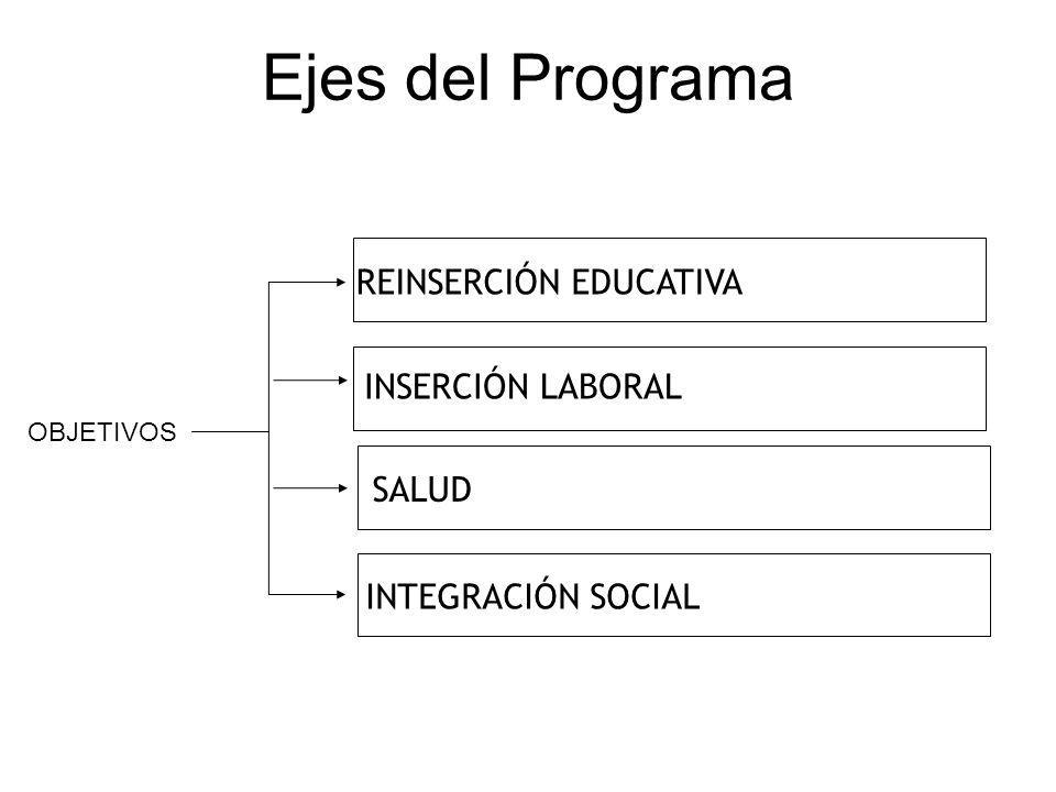 Ejes del Programa REINSERCIÓN EDUCATIVA INSERCIÓN LABORAL SALUD
