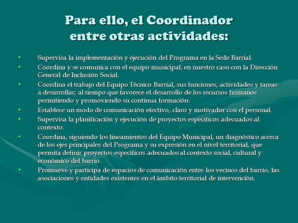 Para ello, el Coordinador entre otras actividades: