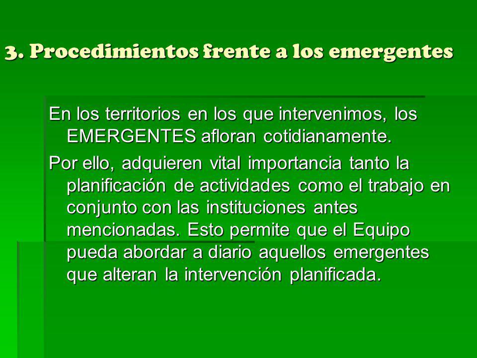 3. Procedimientos frente a los emergentes