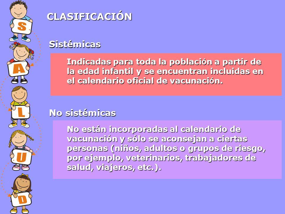 CLASIFICACIÓN Sistémicas No sistémicas