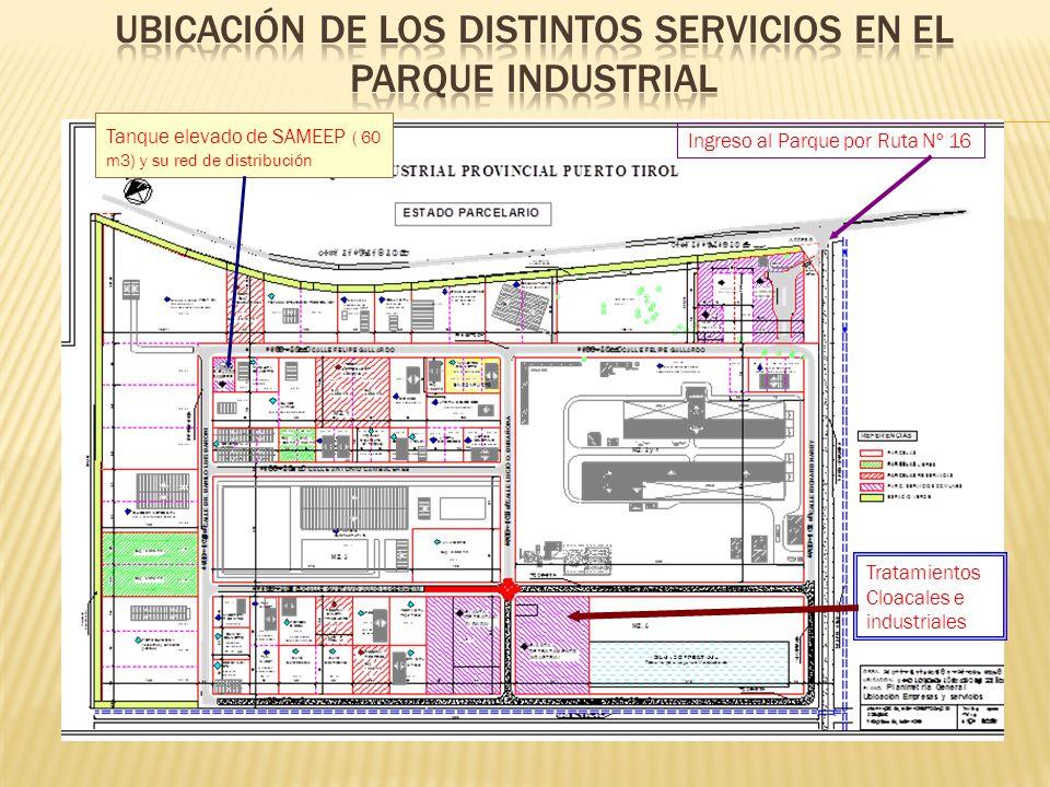 Ubicación de los distintos servicios en el Parque INDUSTRIAL