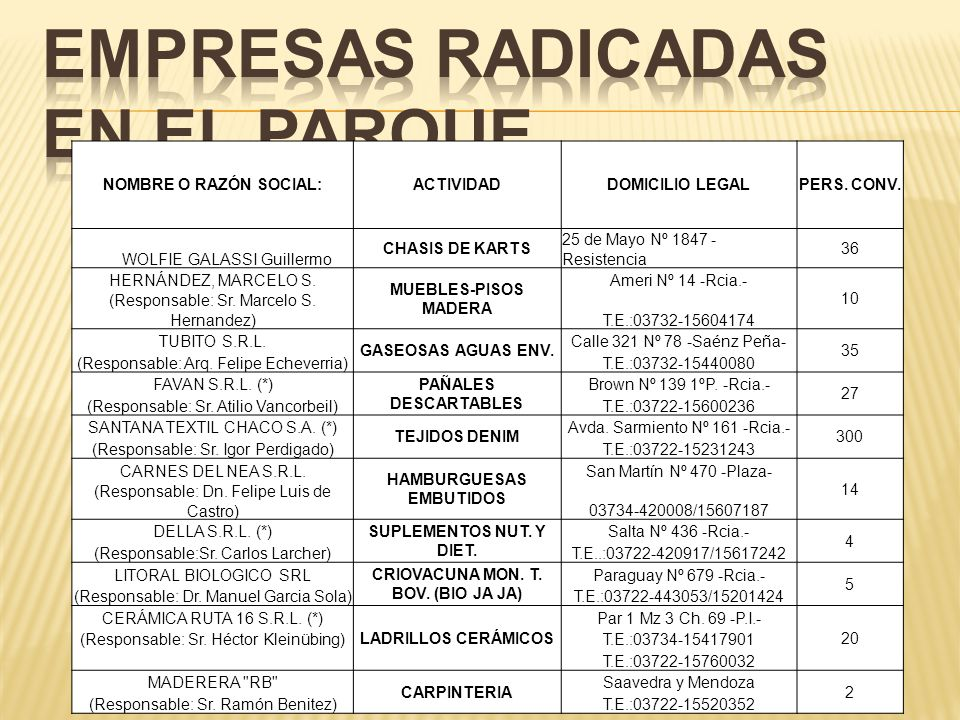 EMPRESAS RADICADAS EN EL PARQUE