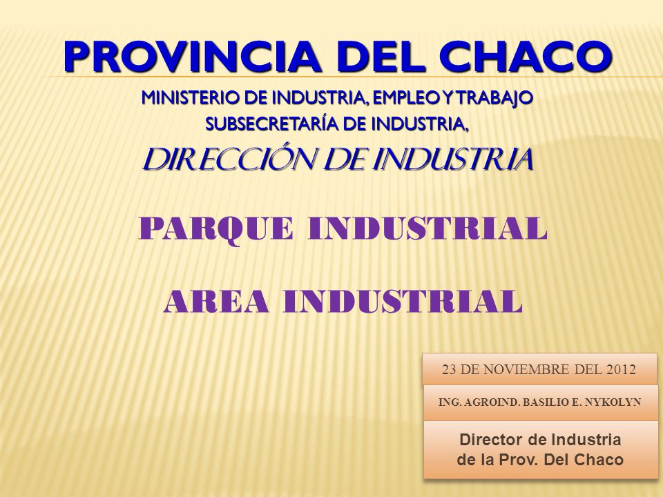 PARQUE INDUSTRIAL AREA INDUSTRIAL ING. AGROIND. BASILIO E. NYKOLYN