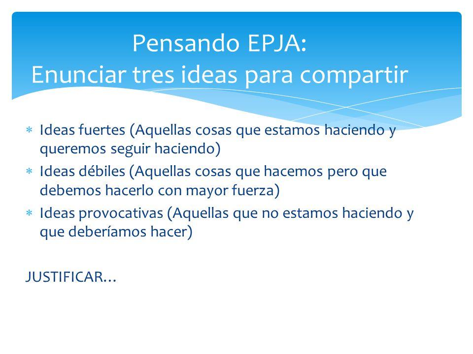 Pensando EPJA: Enunciar tres ideas para compartir