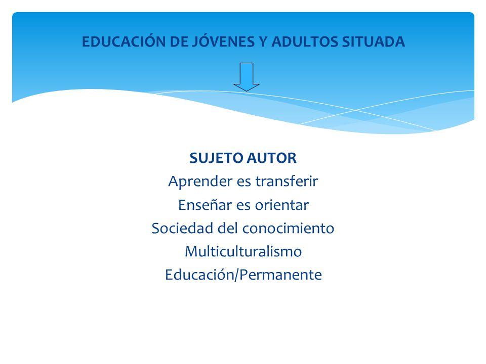 EDUCACIÓN DE JÓVENES Y ADULTOS SITUADA