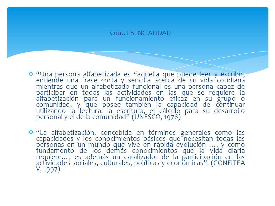 Cont. ESENCIALIDAD