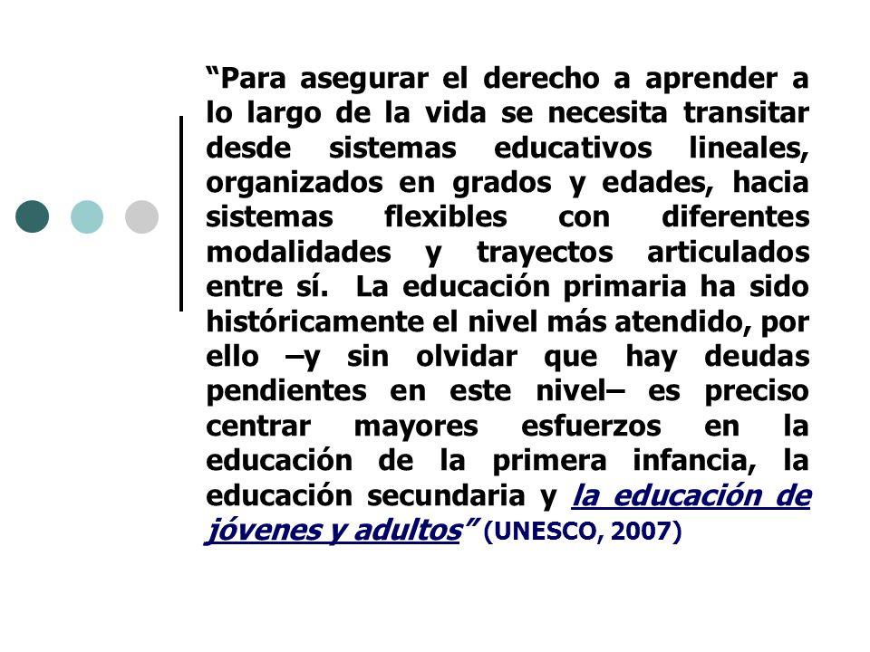 Para asegurar el derecho a aprender a lo largo de la vida se necesita transitar desde sistemas educativos lineales, organizados en grados y edades, hacia sistemas flexibles con diferentes modalidades y trayectos articulados entre sí.