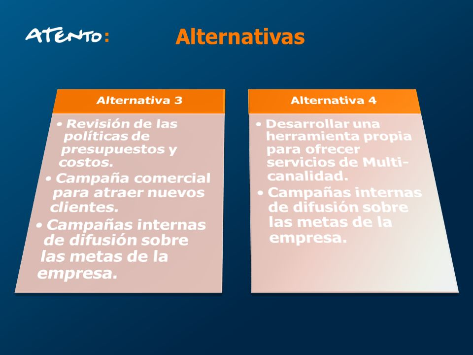 Alternativas Revisión de las políticas de presupuestos y costos.