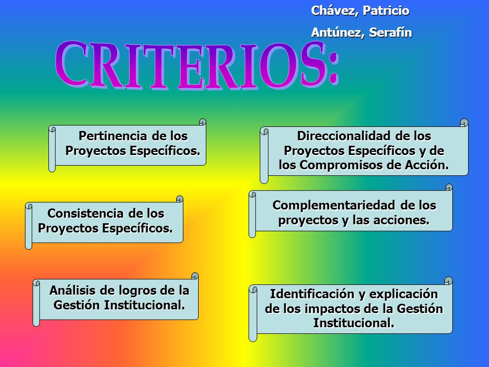 CRITERIOS: Chávez, Patricio Antúnez, Serafín