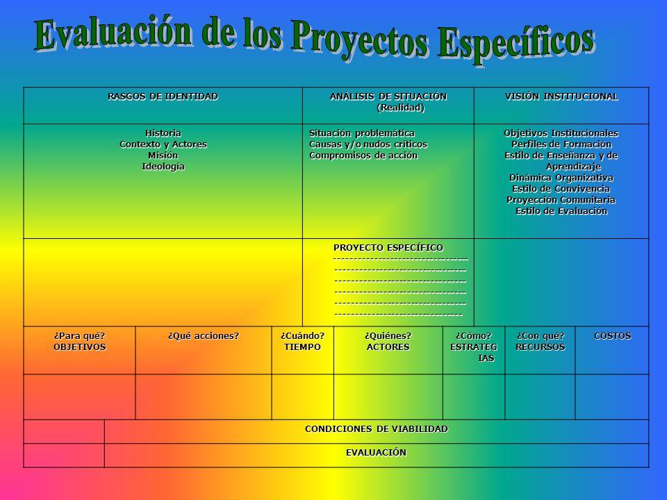 Evaluación de los Proyectos Específicos