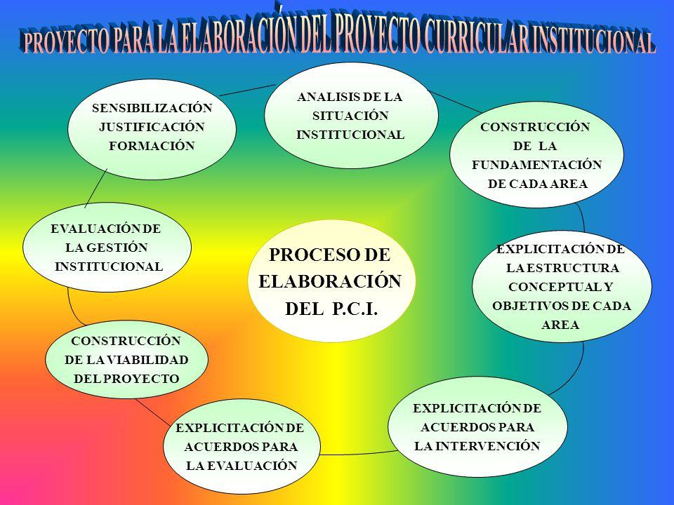 PROYECTO PARA LA ELABORACIÓN DEL PROYECTO CURRICULAR INSTITUCIONAL