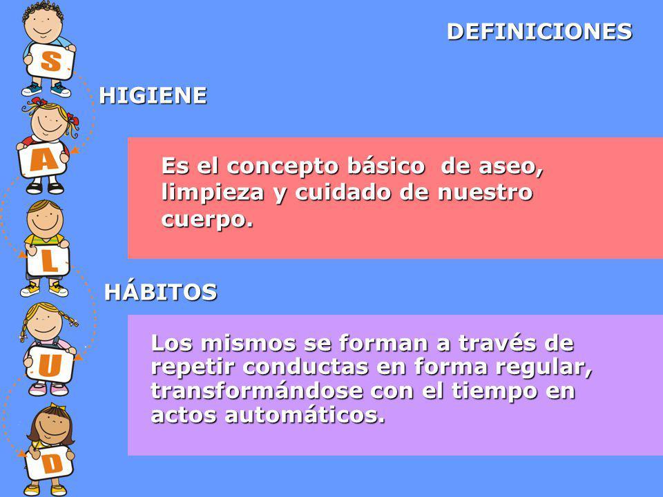 DEFINICIONES HIGIENE. Es el concepto básico de aseo, limpieza y cuidado de nuestro cuerpo. HÁBITOS.