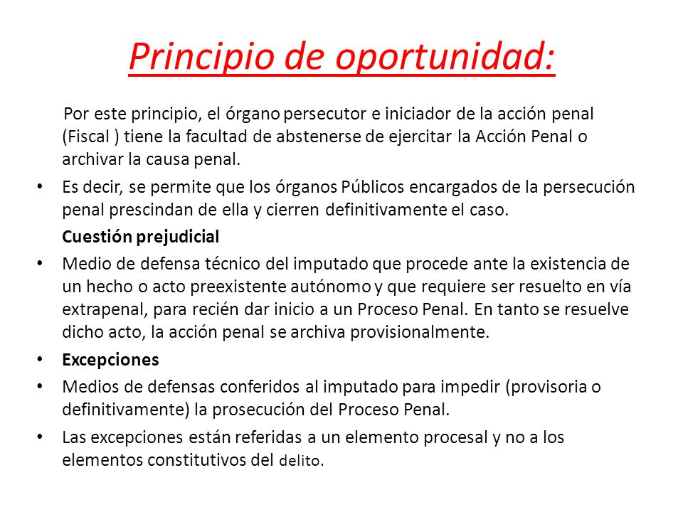 Principio de oportunidad: