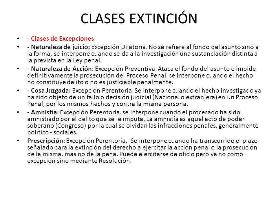 CLASES EXTINCIÓN - Clases de Excepciones