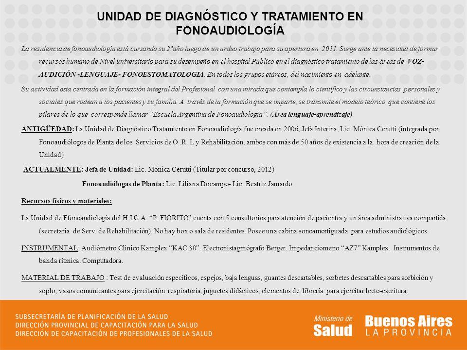 UNIDAD DE DIAGNÓSTICO Y TRATAMIENTO EN FONOAUDIOLOGÍA