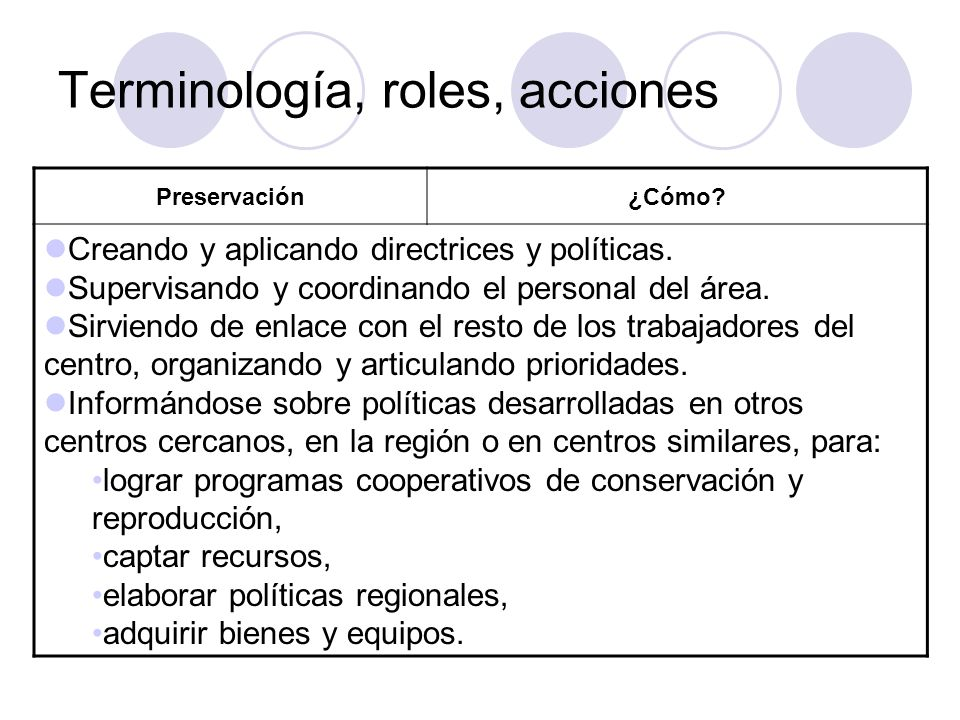 Terminología, roles, acciones