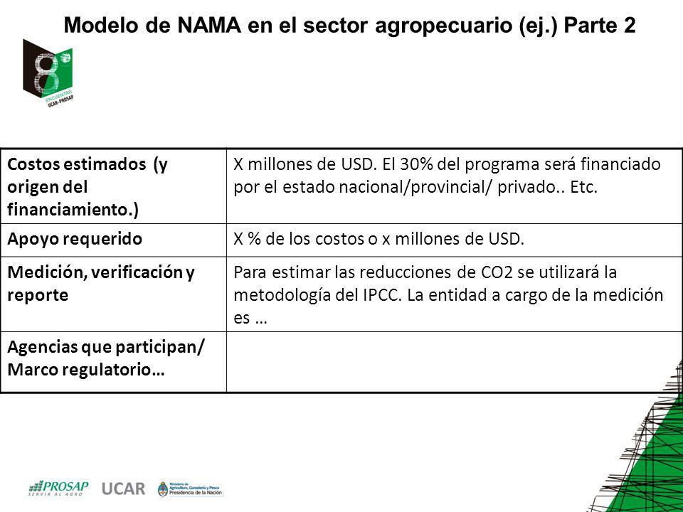 Modelo de NAMA en el sector agropecuario (ej.) Parte 2