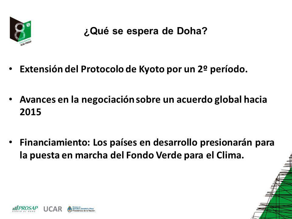 Extensión del Protocolo de Kyoto por un 2º período.