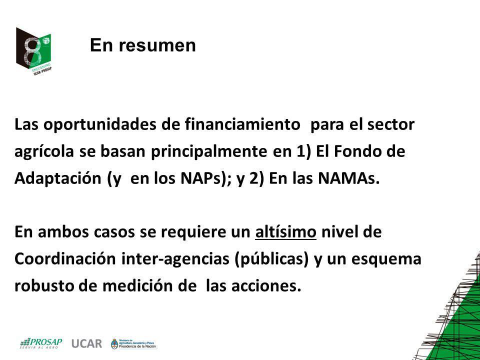 En resumen Las oportunidades de financiamiento para el sector. agrícola se basan principalmente en 1) El Fondo de.