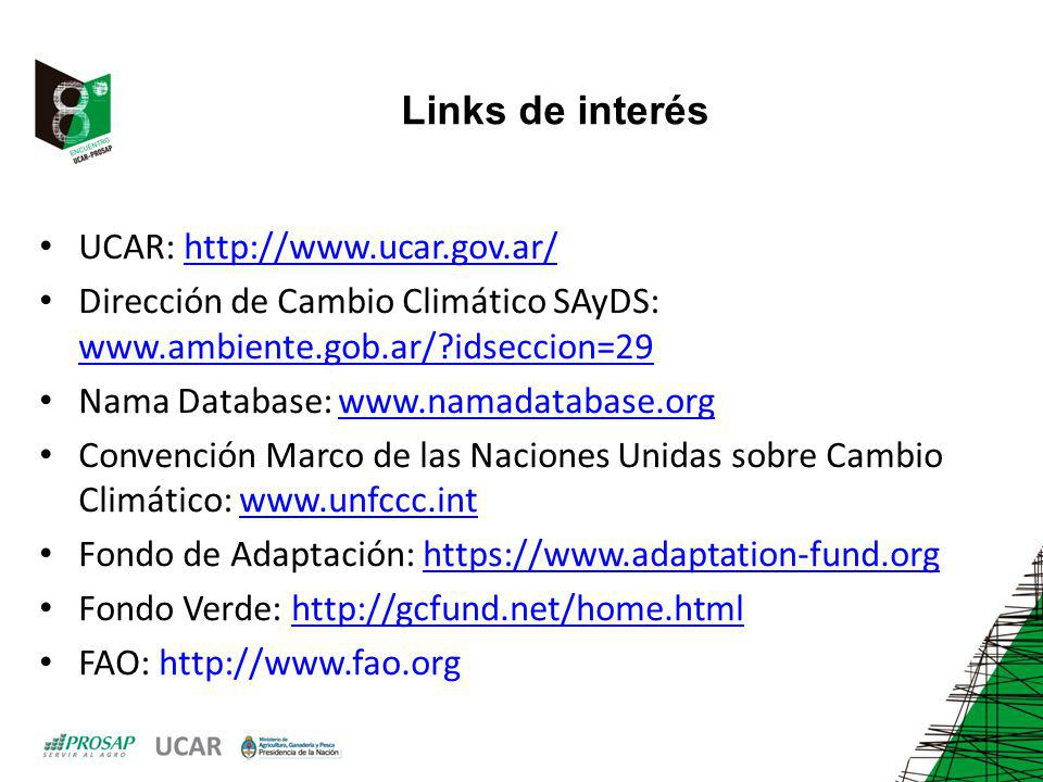 Links de interés UCAR: http://www.ucar.gov.ar/