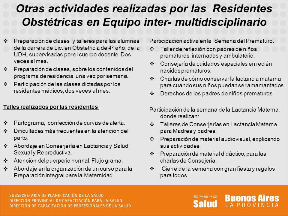 Otras actividades realizadas por las Residentes Obstétricas en Equipo inter- multidisciplinario