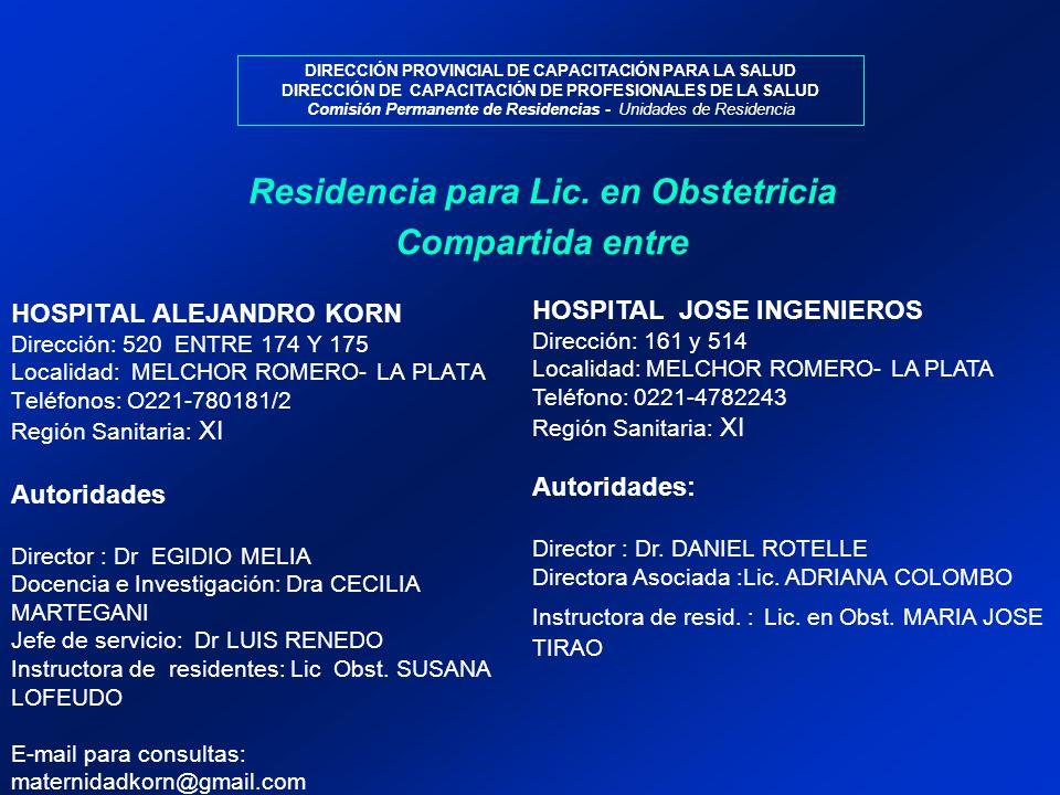 Residencia para Lic. en Obstetricia Compartida entre