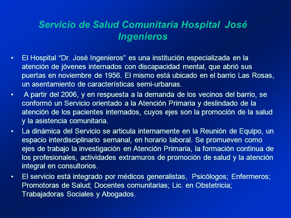 Servicio de Salud Comunitaria Hospital José Ingenieros