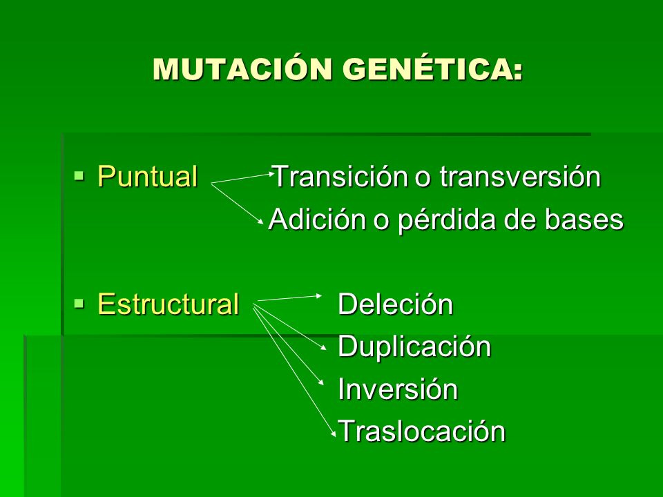 MUTACIÓN GENÉTICA:Puntual Transición o transversión. Adición o pérdida de bases. Estructural Deleción.
