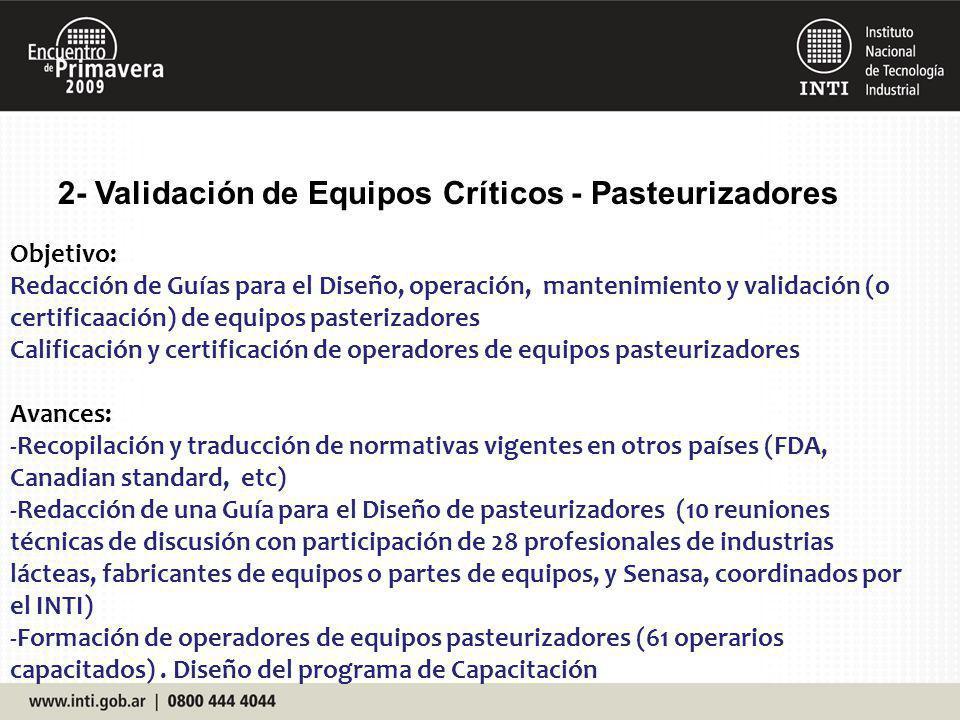 2- Validación de Equipos Críticos - Pasteurizadores