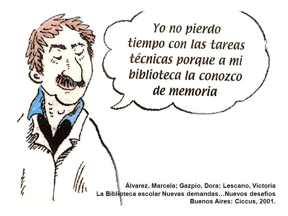 Álvarez, Marcela; Gazpio, Dora; Lescano, Victoria La Biblioteca escolar Nuevas demandas…Nuevos desafios Buenos Aires: Ciccus, 2001.