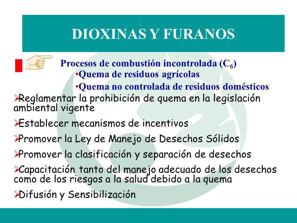 DIOXINAS Y FURANOS Procesos de combustión incontrolada (C6)